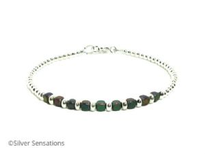 Rainbow Hematite Cube Beads  & Sterling Silver Bracelet